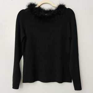 New Max Studio Feather Scoop Neck Stretch Sweater